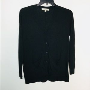 Loft S Cardigan Sweater Black Button Front Pockets